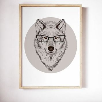 Wolf Poster Art Print Canvas Hipster Animal