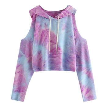 FeiTong Drawstring Open Shoulder Tie Dye Crop Hoodie Spring Autumn Long Sleeve Ladies Casual Pullovers Multicolor Sweatshirts