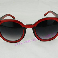 Black and red Sunglasses - Red frame Eyewear,fashion sunglasses, retro,colorful shades,urban, hipster,kitsch,Cat eye,summer, party glasses