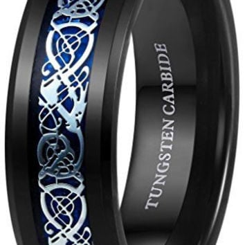 8mm Men's Black Tungsten Carbide Ring Silvering Blue Celtic Dragon Inlay Wedding Band