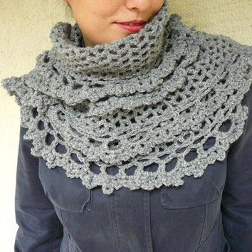 Gray Shawl With Lace by afra on Etsy