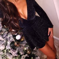 Black Glittery Plunging Party Dress