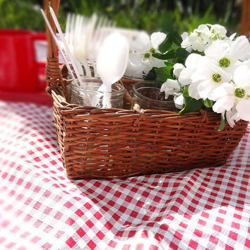 Vintage Wicker Basket with Vintage Jelly Jars French Farmhouse Home Decor