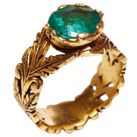 Jade Jagger Emerald Gold Leaf Ring