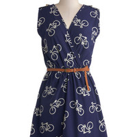 ModCloth Mid-length Sleeveless A-line Ride Here, Right Now Dress in Blue