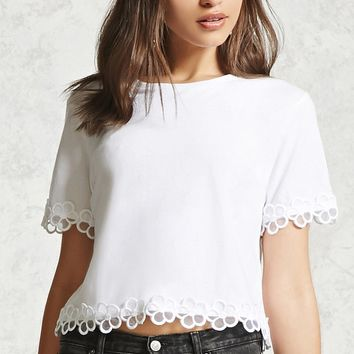 Floral Crochet Trim Boxy Top