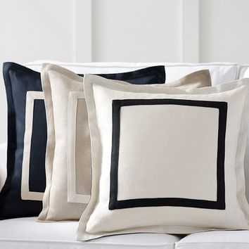 Textured Linen Frame Pillow Cover