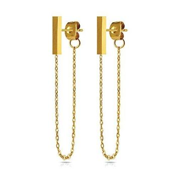 BodyJ4You Stud Earrings Modern Fashion Bar Chain Goldtone Stainless Steel Women Piercing Jewelry