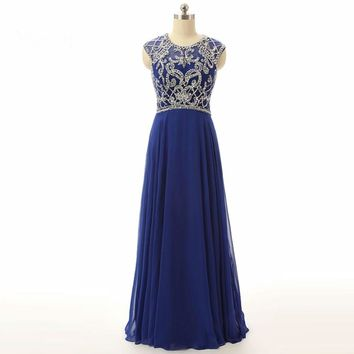 Royal blue Prom Dresses Beaded Open Back Formal Gowns Chiffon A line Evening Dress