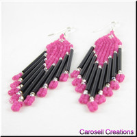 Native American Beaded Earrings Seed Bead Beadwork - Pink and Black