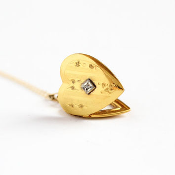 Vintage 12k Gold Filled Heart Diamond Locket Necklace - Mid Century 1940s 1950s WWII Era Sweetheart Love Flower Floral Photo Jewelry