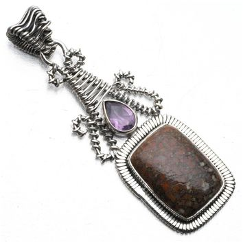 "Natural Boulder Opal and Amethyst Punk Style 925 Sterling Silver Pendant 2 1/2"" P0753"