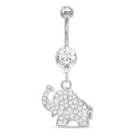 014 Gauge Dangle Elephant Belly Button Ring with Crystals in Stainless Steel -  - View All - PAGODA.COM