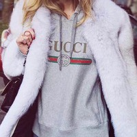2018 Original GUCCI : Hooded head letter stamp leisure loose sweater