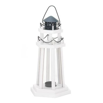 Classic Lighthouse Wooden Candle Holder Lantern