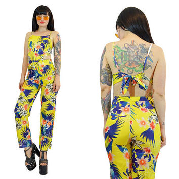 67f88e9010ec vintage 90s does 70s tropical jumpsuit bodycon hippie boho flora
