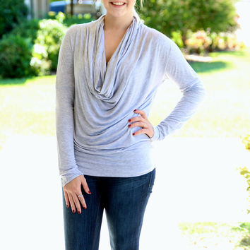 Solid Cowl Top - Heather Grey
