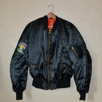 Vintage Air Force Black Flyers Jacket USAF MA-1 MIL-J-8279J1 Flight Jacket Bomber Jacket Size X Large