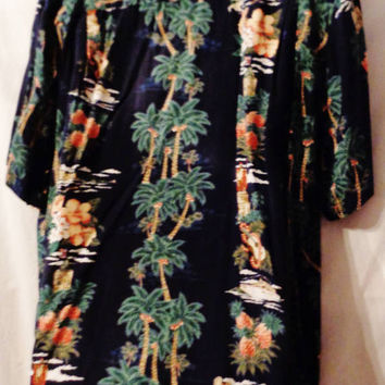 Vintage Men's Rayon Hawaiian Aloha Shirt - Size XL - Guitars - Palm Trees - Hibiscus - Print on Black - Hawaiian Reserve - Made in Hawaii