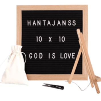 "Felt Letter Board 10x10 Inches. Changeable Letter Boards Include 680 (¾"") White Plastic Letters, Numbers, Special Characters, Emojis, Symbols, and Punctuation , Oak Frame & Easel"