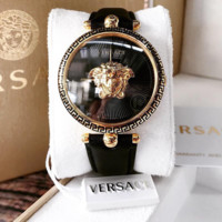 Versace Leather Wrist Watch Women Men Fashion Quartz Movement