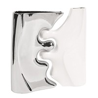 Howard Elliott 96001 Contemporary Ceramic Puzzle Vase Set, Bright Nickel Plated and Glossy White, 2-Piece
