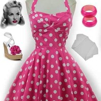 50s Style Pink POLKA Dot TRAVELING CUPCAKE TRUCK Dress with HALTER Petal Bust