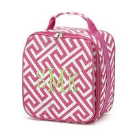 Monogrammed Lunchbox Lunchbag Pink Greek Key Insulated Cooler School Personalized
