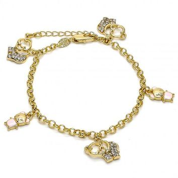 Gold Layered 03.63.1366.07 Charm Bracelet, Elephant and Teddy Bear Design, with White Crystal, Enamel Finish, Gold Tone