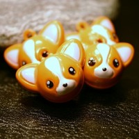 4 Chihuahua Corgi Fox Bell Charms Brass Metal jingle Musical Orange Brown Tan Face Pet Animal Woodland Wild Sly Dog Puppy Pomeranian Kid's