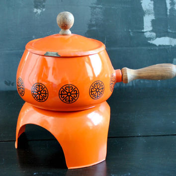 Vintage Orange Fondue Set - 3 piece set, Orange Enamel Pot, Wood-Handled Pot. Free Shipping within the US!