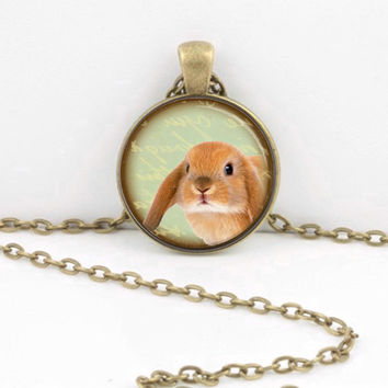 ON SALE Bunny Holland Lop Adorable Pendant Necklace or Key Ring