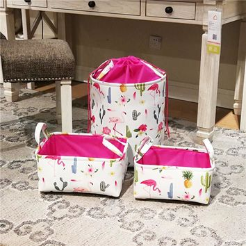 Pink Flamingo Printed Laundry Basket (35 cm. x 40 cm.)