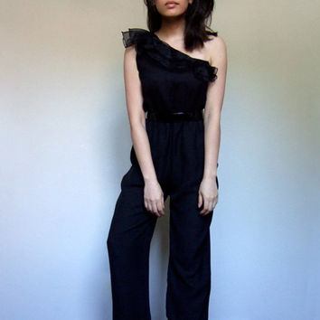 80s Black Jumpsuit Womens One Shoulder One Piece Ruffle Party Playsuit Romper Evening Wear - Medium M