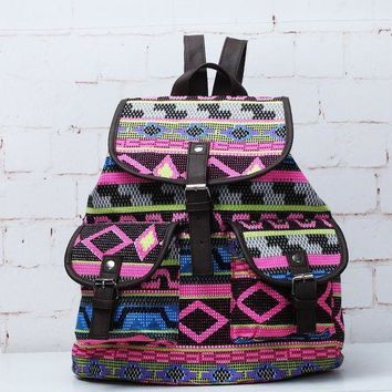 PEAPON Day First Tribal Aztec Ethnic Travel Bag Canvas Lightweight College Backpack