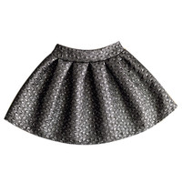 Gray Embossed High Waist Skater Skirt