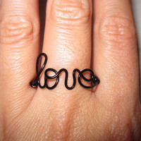Black Love Ring Wire Wrapped