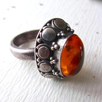 Honey Amber High Dome 925 Sterling Silver Ring, Vintage sz 6