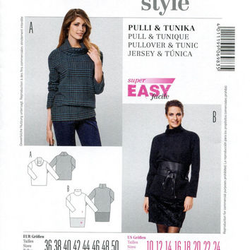 BURDA 6983 TUNIC PATTERN Long Sleeve Tunic and Pullover Top Turtleneck Tunic Burda Style Size 10 12 14 16 18 20 UNCuT Womens Sewing Patterns