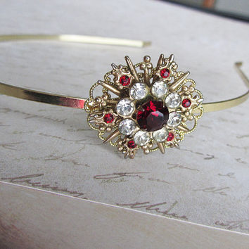 Red Gold rhinestone headband, hair accessory, Red, rhinestone headband, Red