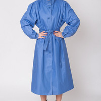 1980's Blue Coat - Vintage 80's Trench Coat Turtleneck A Lined London Fog Futuristic Puff Sleeves Cotton Maxi Lenght Spring Coat Size L XL