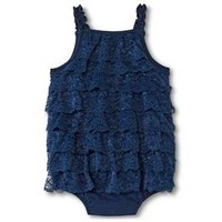 Baby Girls' Lace Romper Nighttime Blue - Cherokee® : Target