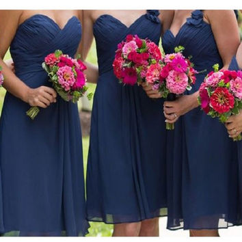 A-line Ruched Embellished Sweetheart Neck Sleeveless Mini Length Navy Blue Chiffon Bridesmaid Dresses,Short Wedding Party Bridesmaid Dresses
