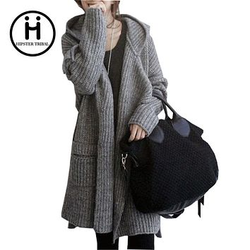 Autumn and winter thick loose sweater cardigan coat Korean version of coarse lines long Hooded knit jacket belt