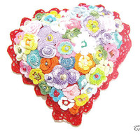 Crochet small pillow with flowers, Heart pillow, Decorative pillow, Piccolo cuscino con fiori (Cod. 87)