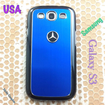 Mercedes Samsung Galaxy S3 Case Mercedes 3D Metal Car Logo with Aluminum Cover for S3 / i9300 -  F1 Blue