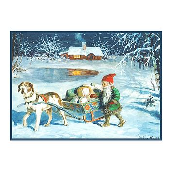 Elf Gnome Delivering Presents on Dog Sled Jenny Nystrom  Holiday Christmas Counted Cross Stitch Pattern