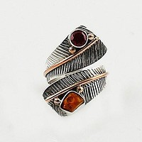 Ethiopian Opal Rough and Garnet Three Tone Adjustable Wrap Ring