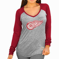 Women's Detroit Red Wings Original Retro Brand Heather Gray/Red Lightweight Long Sleeve Raglan V-Neck T-Shirt
