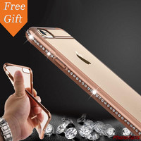 For Apple iphone 6S 6 4.7inch Luxury Rhinestone Frame Ultra Thin Clean TPU case Crystal Diamond Fashion cover For iphone6S